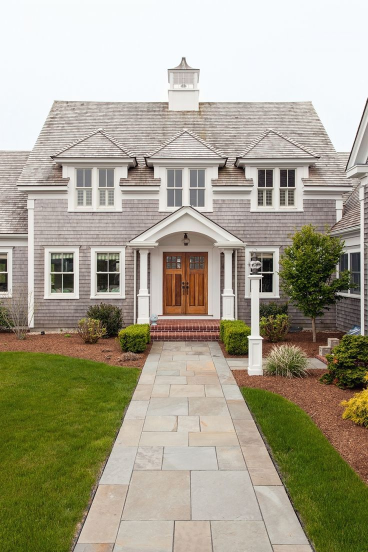 Classic cape cod exterior double doors stone walkway for Cape cod exterior
