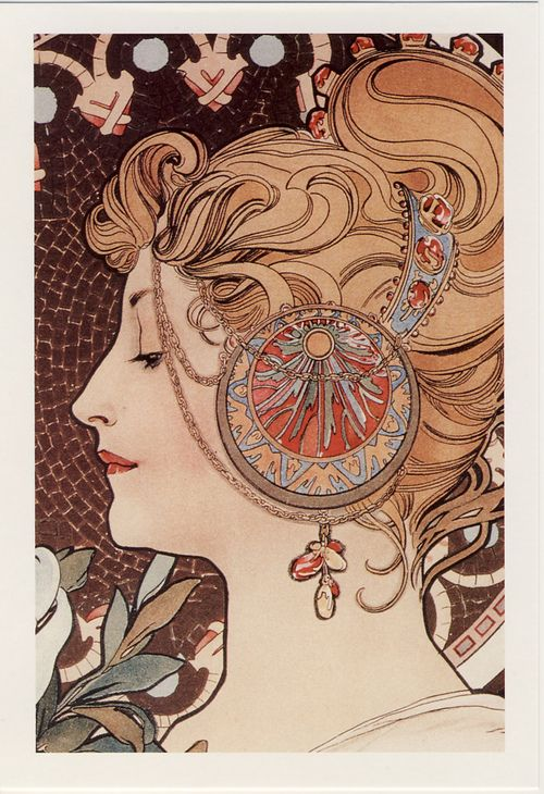 The feather by Alphonse Mucha (by postcardlady1)