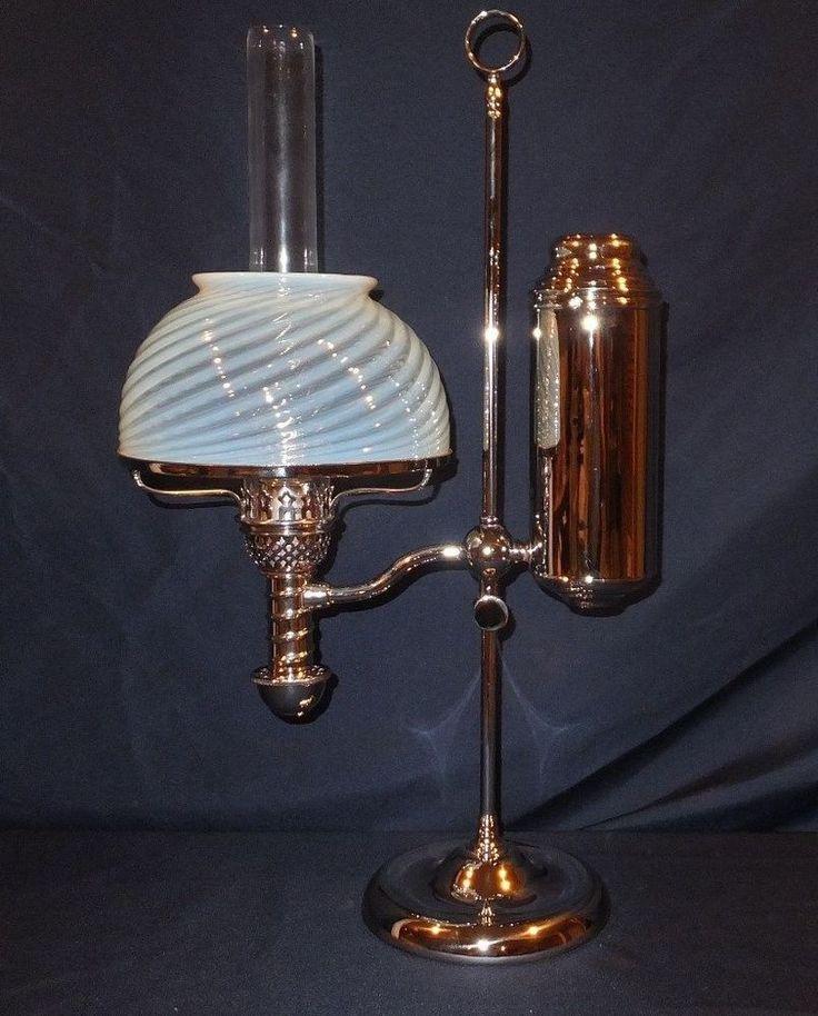 Antique Victorian 1870's near perfect Nickel Manhattan student Oil Lamp