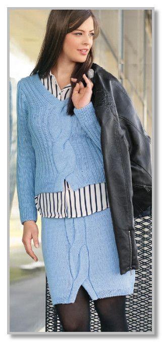 Вязание спицами. Однотонный комплект с центральной косой: пуловер и юбка. Размеры: 34/36 (38) 40/42