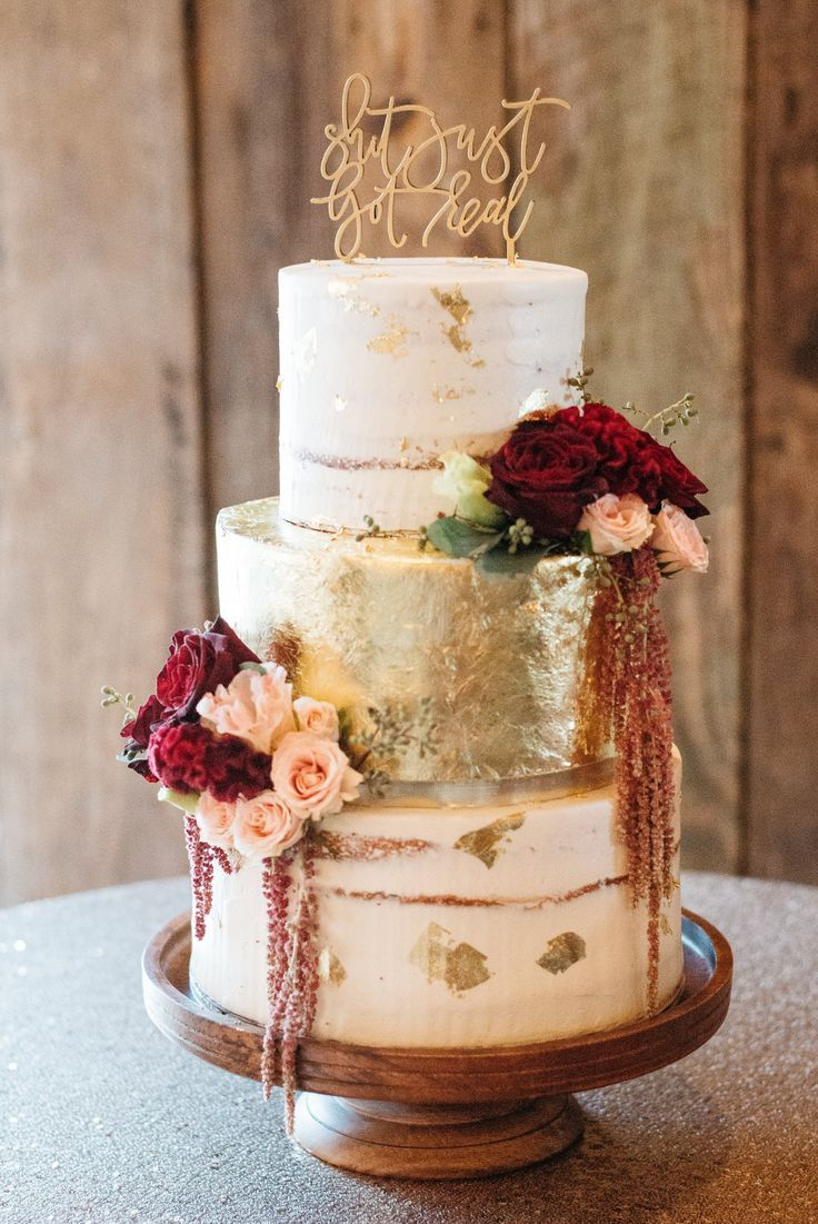 Gold Foil Cake with accents of burgundy and blush floral // wedding cake, rustic, autumn