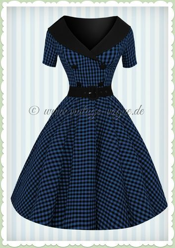 Hell Bunny 50er Jahre Rockabilly Gingham Kleid - Bridget - Schwarz Blau