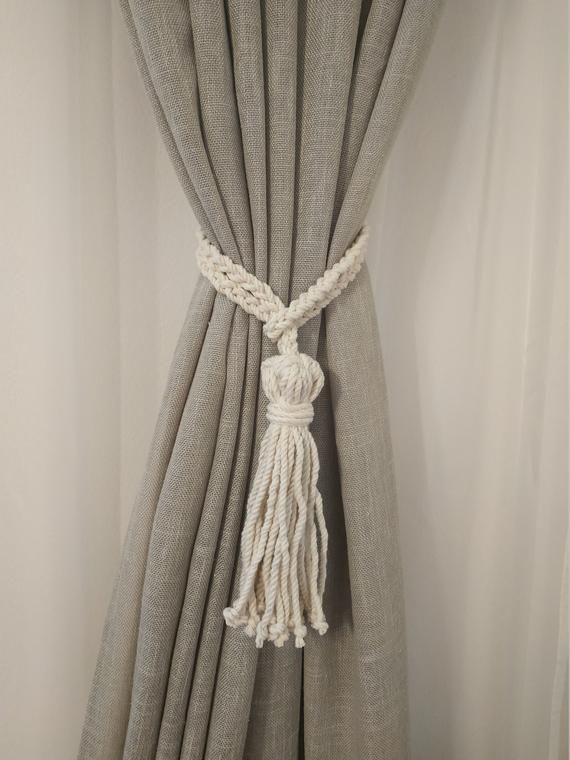 Tassel Curtain Tie Backs Cotton Rope Curtain Tie Back Beach Decor Vintage Tiebacks Curtain Holdback Rustic