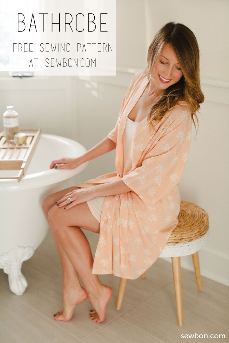 Make a one-size-fits-most bathrobe using this free sewing pattern and tutorial by sewbon.com