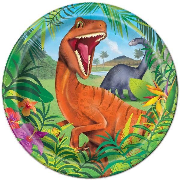 Dino Blast Dinosaurio Partido papel Platos X 8