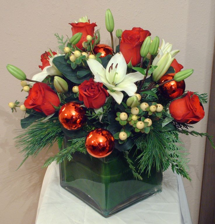Holiday Centerpieces using red, white and green