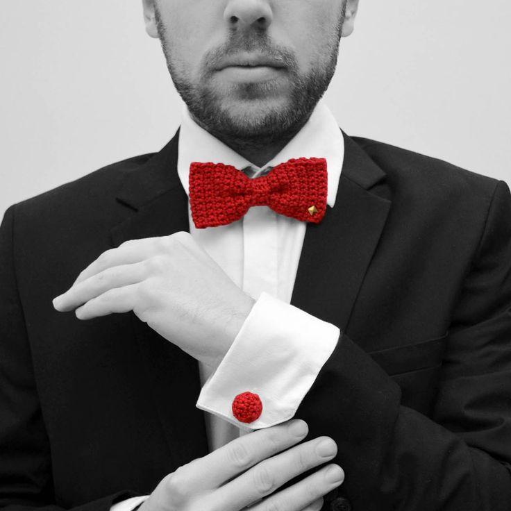 Coffret homme, noeud papillon et boutons de manchette fait à la man au crochet, Made in France, www.histoiredecadeau.com