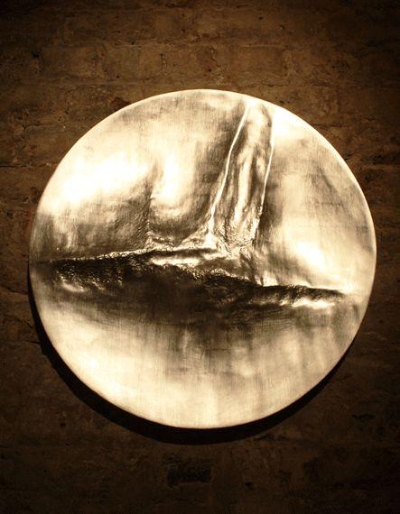 Beaux Arts Gallery - Luke Frost and Simon Allen   Simon Allen   Nimbus V   2014   12ct. White Gold Leaf on Carved Wood   Diameter: 22 inches (53.5 cm)