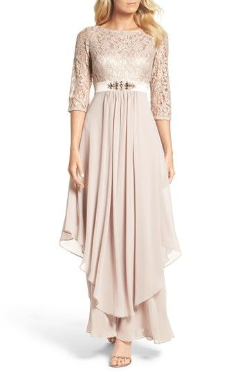 Free shipping and returns on Eliza J Embellished Lace & Chiffon Gown at Nordstrom.com. An enchanting dusty-rose shade saturates this bateau-neck dress of corded lace and creamy chiffon. A glittering brooch draws the eye to the smallest part of the waist.
