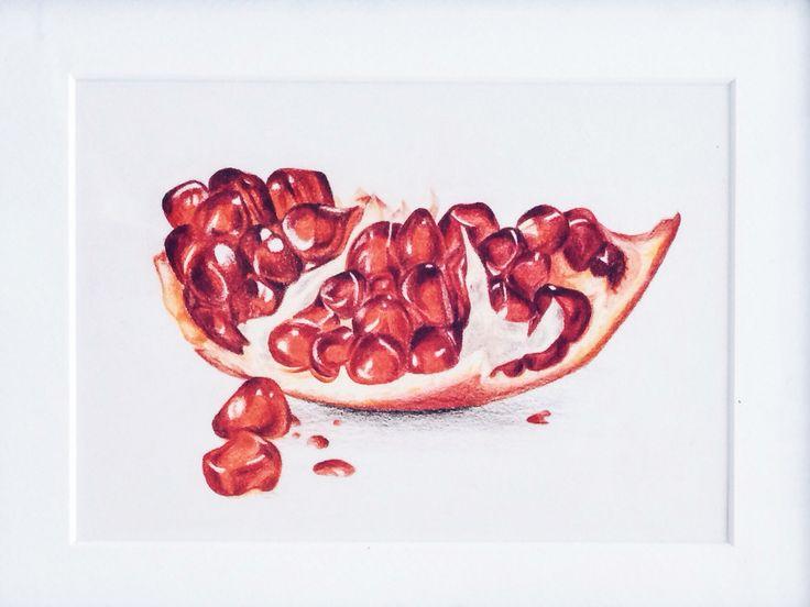 Гранат, иллюстрация, фрукт, цветные карандаши, рисунок, illustration, pomegranate, Granatapfel, Frucht, fruit, Zeichnung, pencil, drawing