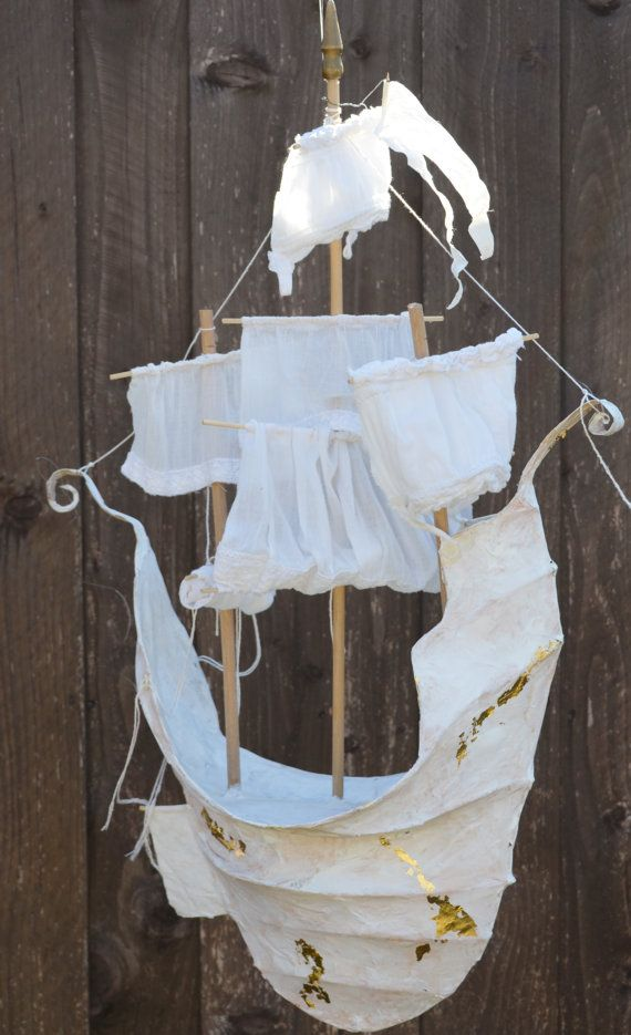 Paper Mache Ship * `✨☆ with sails made from an old cotton dress, gold leaf spakling to keep the magic in, and one white wimpel flag atop the main mast. One of a kind.