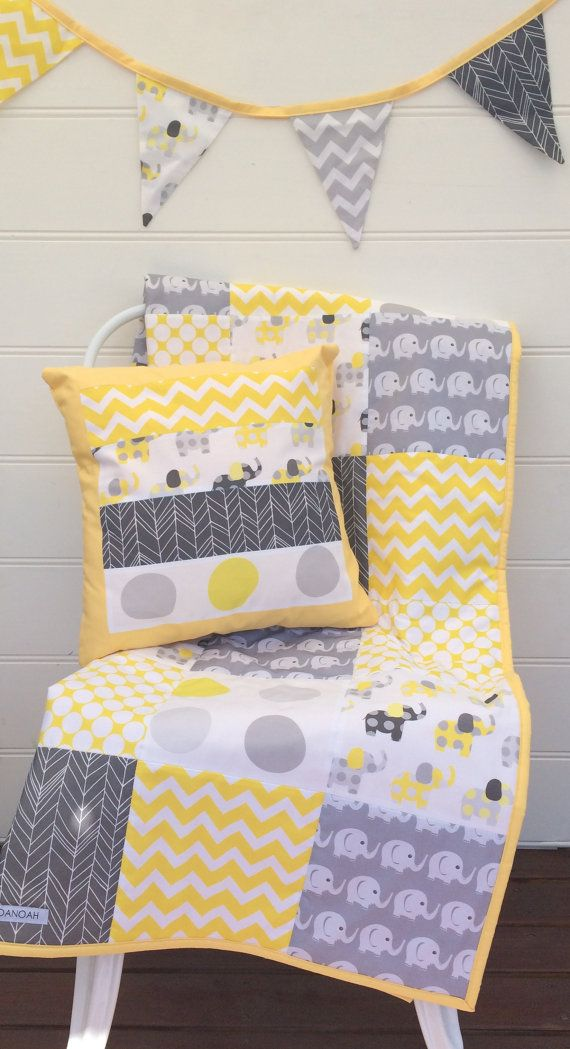Patchwork cot quilt in Yellow and Grey with Elephants by Danoah