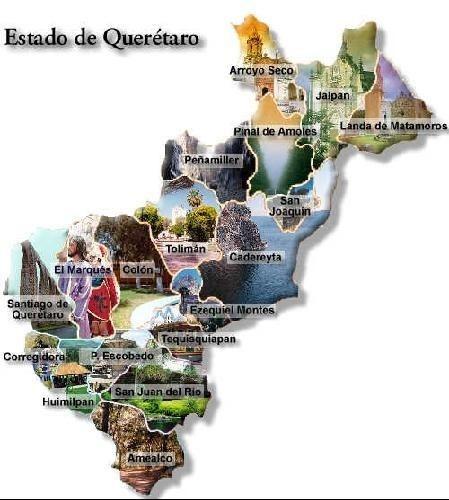 Mapa del Estado de Queretaro, México