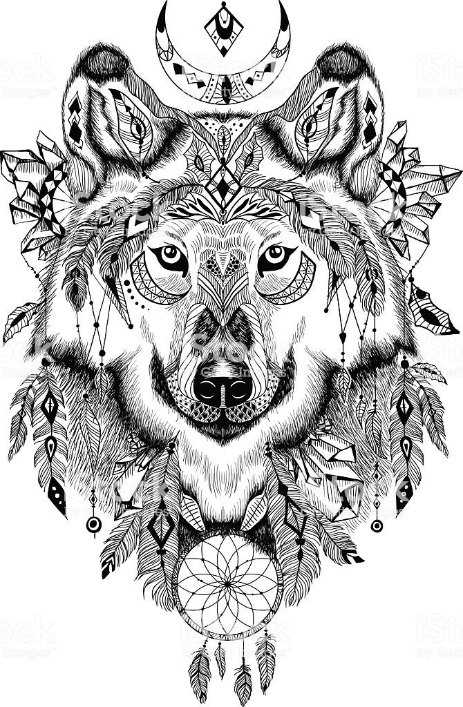 Detailed Wolf In Aztec Boho Style May Be Used As A Print A Tatto