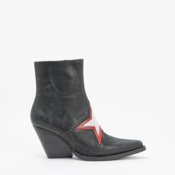 Jeffrey Campbell GAZER Ankle Western Zip Bootie Black Distressed Leather Red/Silver Star