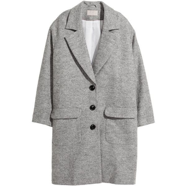 H&M+ Coat in a wool blend ($91) ❤ liked on Polyvore featuring outerwear, coats, grey marl, plus size, womens plus coats, wool blend coat, h&m coats, grey coat and gray coat