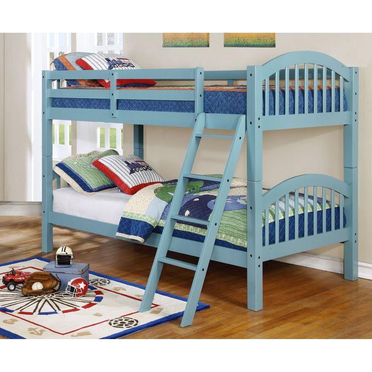 Bella Dianna Twin over Twin Bunk Bed (Seafoam), Blue