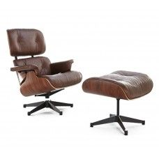 Charles & Ray Eames Inspired 670 Lounge Chair and 671 Ottoman - Rosewood & Brown Leather