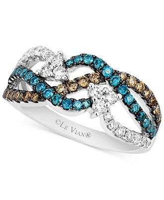Le Vian 14k White Gold White (1/3 ct. t.w.), Chocolate (1/4 ct. t.w.) and Blue (1/3 ct. t.w.) Diamond Woven Ring - Rings - Jewelry & Watches...