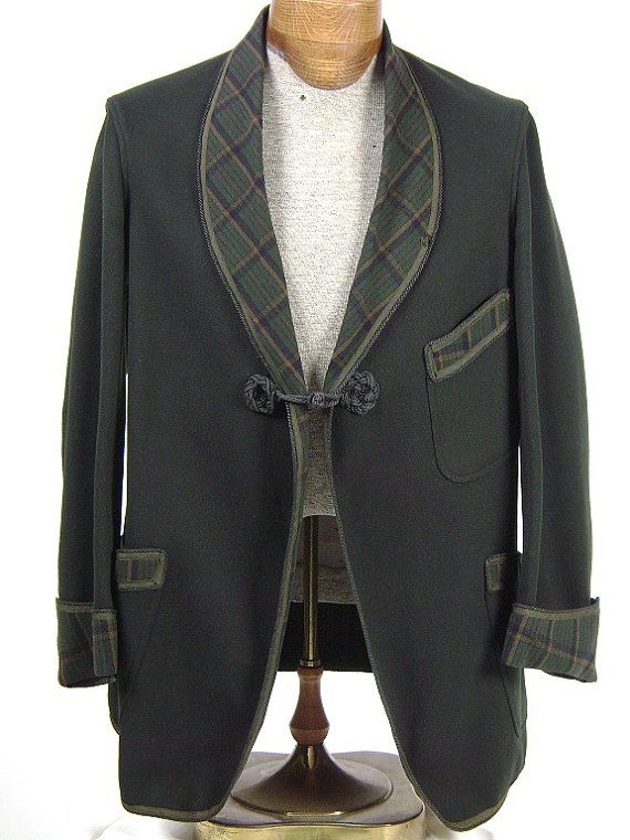 Mens Smoking Jacket with Plaid Details