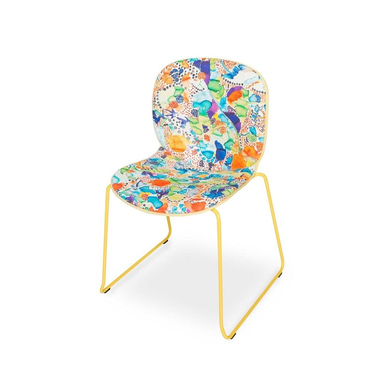 RBM Noor chair x La Cueillette in Cocktail | Sledge by Claire de Quénetain | FEATHR™    Featuring La Cueillette fabric, a stunning and beautiful modern floral fabric, that brings the vibrancy of the French harvest to your home.