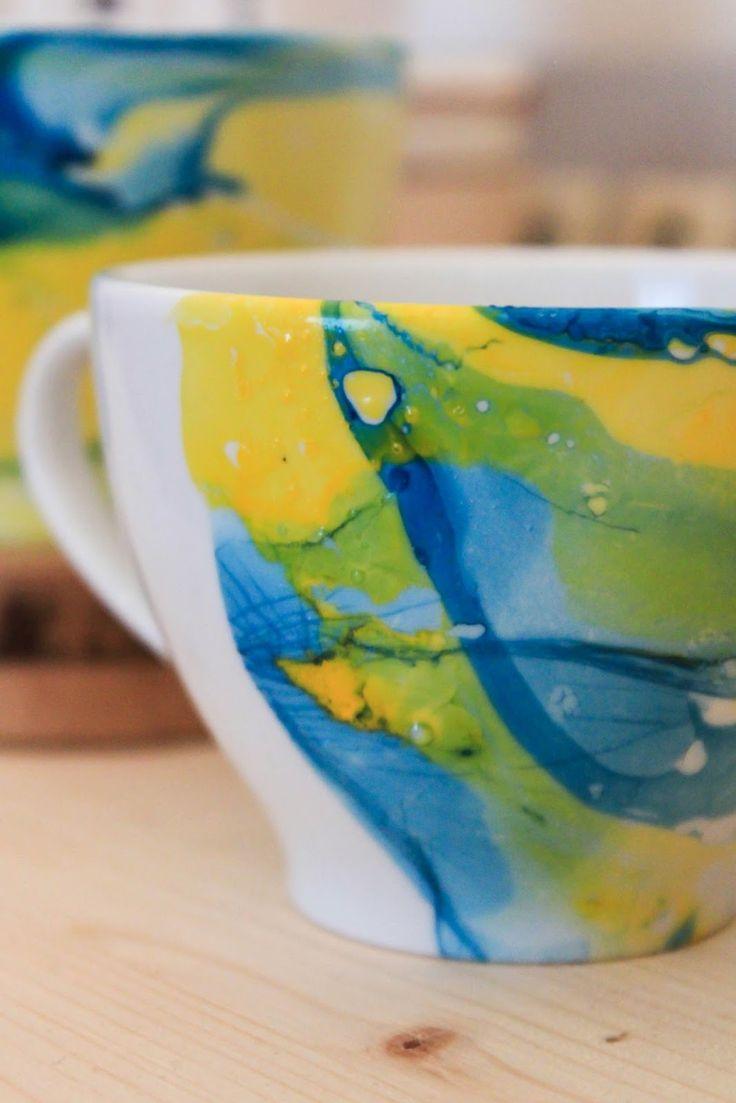 Nagellack marmorieren Anleitung Tassen