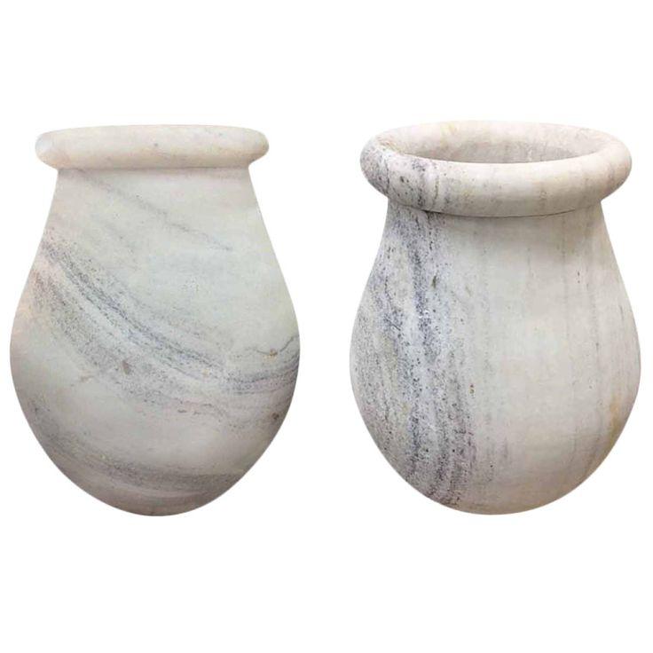 Pair of Mid-Century Carrara Marble Urns