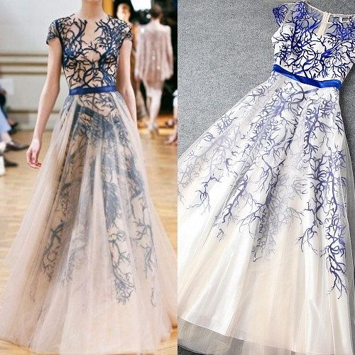 New Organza Embroidery Blue White Sheer Long Maxi, Evening Formal Dress S Goddess Bridesmaids,women clothing on Etsy, $138.20