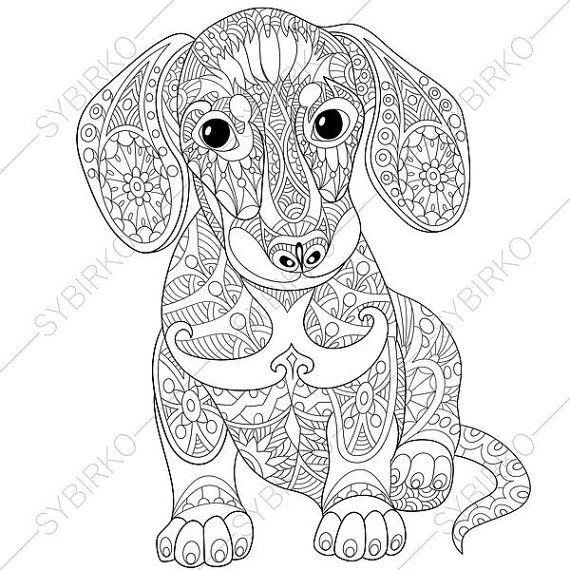 Adult Coloring Page Dachshund Puppy Zentangle Doodle