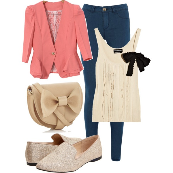 Polyvore #19 coral jacket + sparkly flat