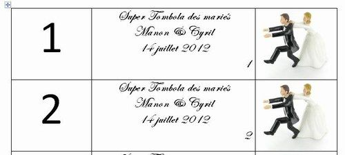 Mariage 14 juillet 2012 ~ Nature et simple - Tickets tombola