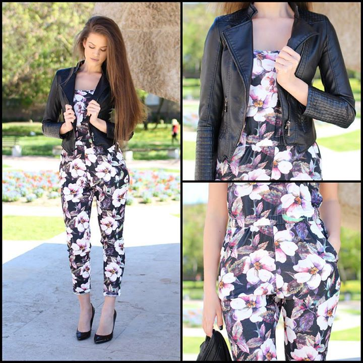 Floral #jumpsuit and faux #leather #jacket...:) by Famevogue  #moda #shopping #casual #style #fashion