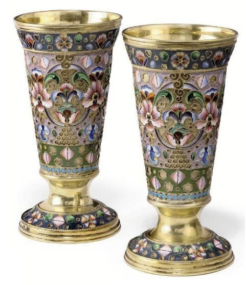 Григорий Сбитнев, стаканы, серебро, эмаль, позолота. МОСКВА, 1908-1917