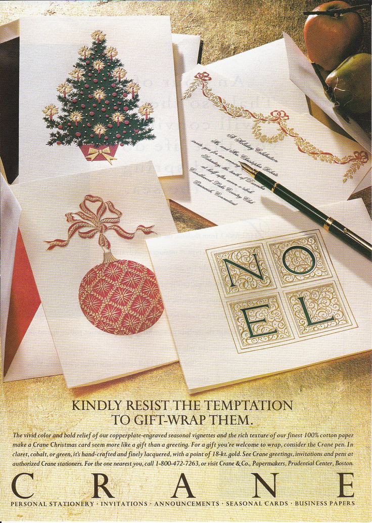 1994 CRANE STATIONERY & SEASONAL CARDS Magazine Print Ad