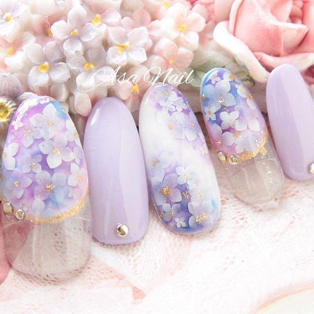 雨の日だって美しく♡梅雨に映える紫陽花ネイルデザイン集 - Locari(ロカリ)