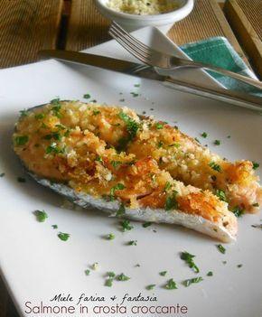 Salmone in crosta croccante.Un secondo facile, leggero e molto gustoso grazie anche all'impanatura croccante e speziata.