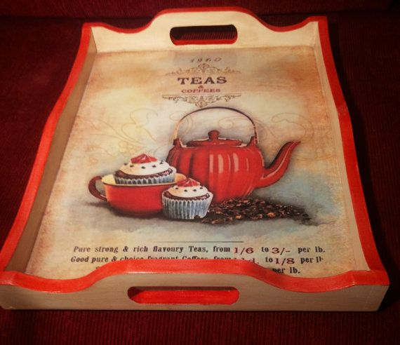 Wooden decoupage tray, serving tray, wooden tray, decoupage tray, tea decoration, tea serving tray