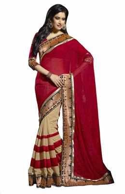 Fine Looking Lotus Motif Broad Border Sari Sarees on Shimply.com
