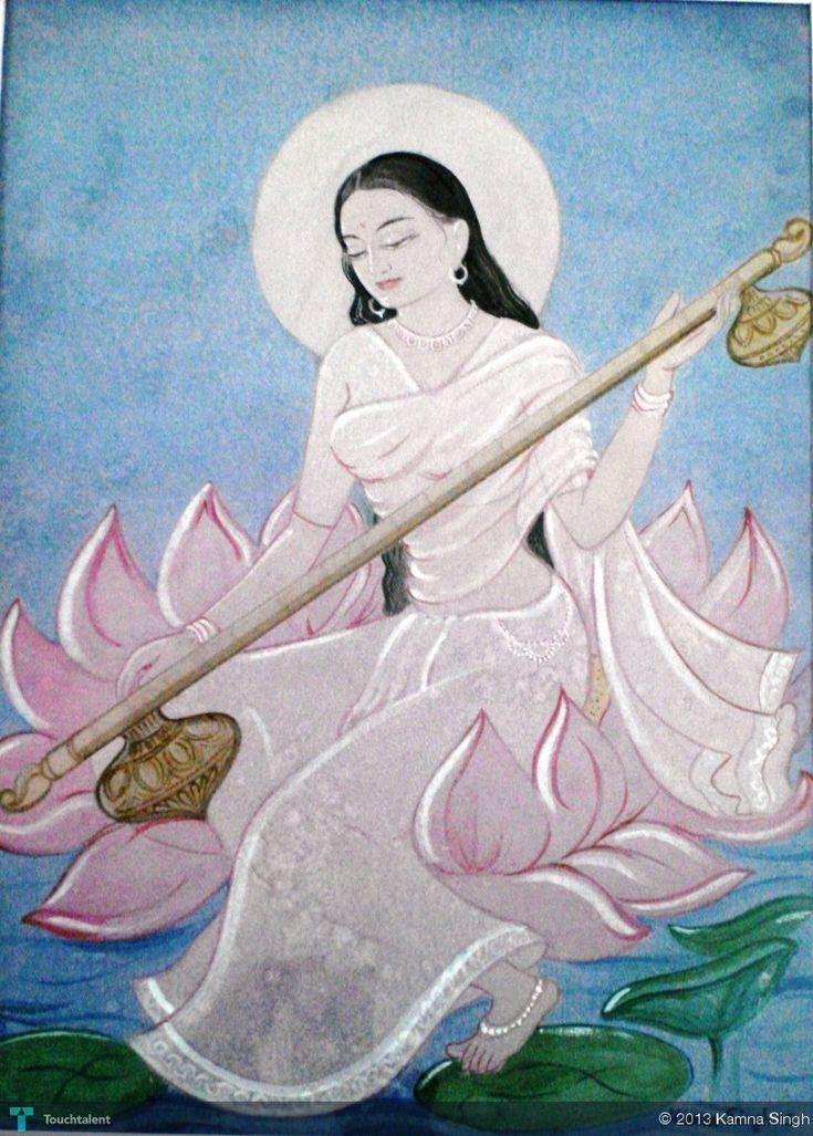 Goddess Saraswati (Traditional Wash Painting), Creative Painting by Kamna Singh