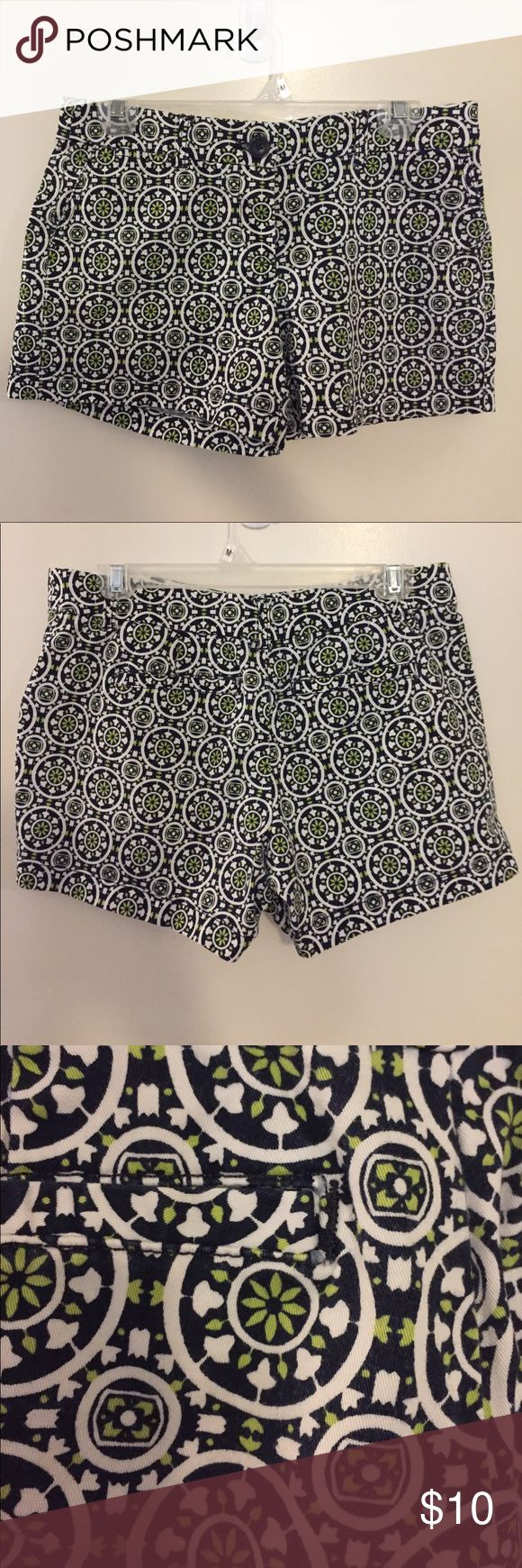 """Crown & Ivy 4"""" Printed Shorts from Belk Crown & Ivy 4"""" Shorts from Belk. Navy Background with White and Lime Green print. Like New Condition. Crown and Ivy Shorts"""