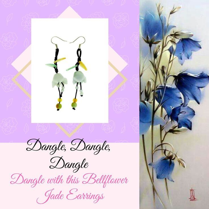 Dangling bellflower handmade jade earrings.