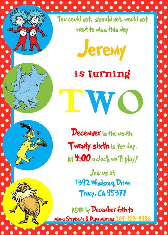 Dr. Seuss Birthday Invitation by JSSCreations1 on Etsy
