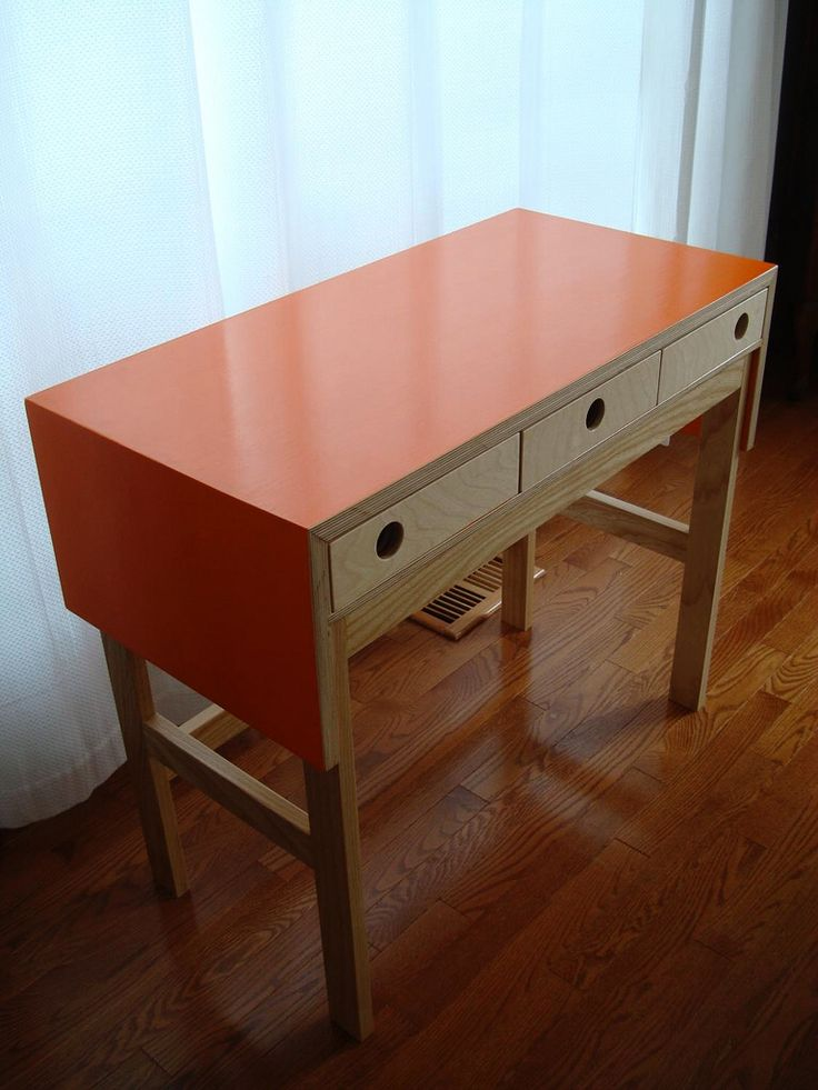 Orange Desk By Evan Lackey Ash And Baltic Birch Ply Orange Acrylic Mixed  With Diamond Coat.