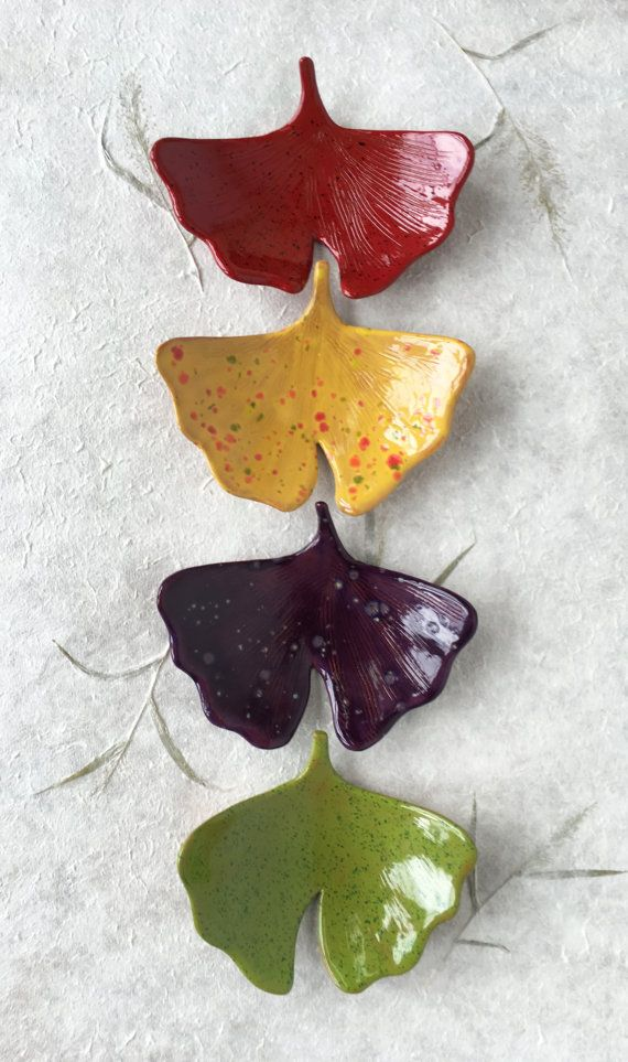 Ginkgo Leaf Ceramic Dish Spring catchall jewelry ring