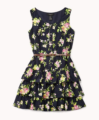 Tiered Floral Print Dress w/ Faux Leather Belt
