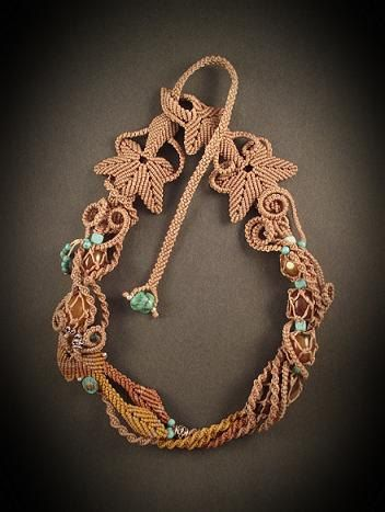 Macrame jewelry necklace with agate beads Memory of by Mabutirat, NT$8800.00