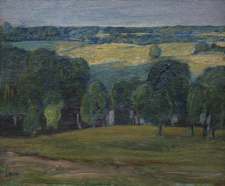 J.E.H. Macdonald - Evening Light Gull River 8.4 x 10.4 Oil on panel (1922)