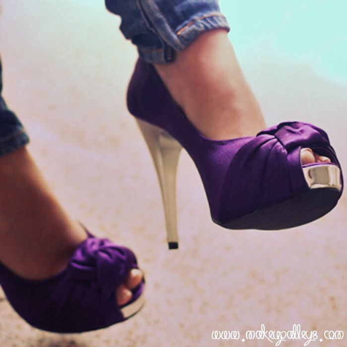 Dark purple Bow High Heels Shoes | bridal shoes | Pinterest ...