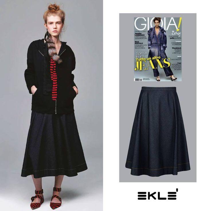 Anticipazioni di Primavera! Su Gioia in edicola la gonna a ruota in jeans in cotone e seta della nostra collezione Primavera - Estate 2016 per un look casual chic e glamour! #ekle #StylingTips #LatestTrend