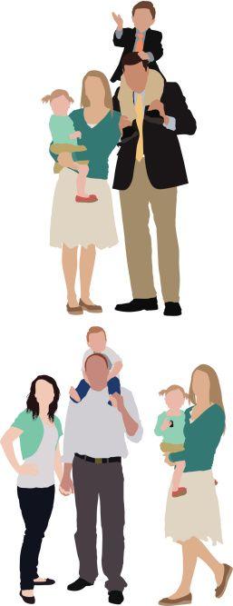 Vector Art : Parents with their children